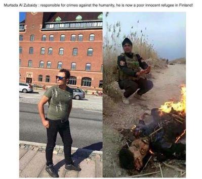 ISIS Kämpfer wärmt sich an brennender Leiche
